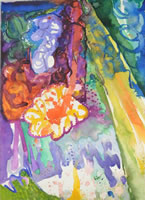 Rain Forest's Gleam, 2011, acrylic on paper, 35.5 x 25.5 cms